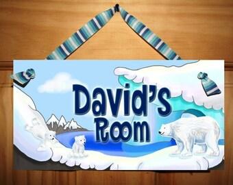 Arctic Polar Bear Dad and Cubs Children's Bedroom Nursery DOOR SIGN Wall Art DS0189