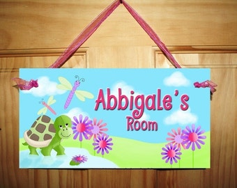Oh So Cute Dragonfly and Turtle Girls Bedroom DOOR SIGN Wall Art DS0391