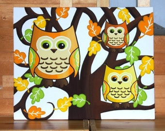 Two Owls Sitting in a Tree Stretched Canvas Children's Bedroom Wall Art CS0020