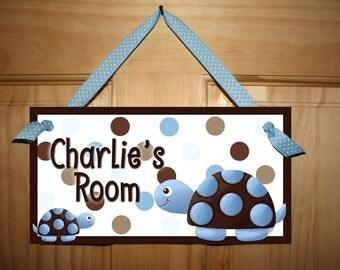 Blue Mod Turtle Boys Bedroom Baby Nursery DOOR SIGN DS0284