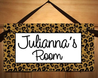 Leopard Prints Kids Bedroom Baby Nursery DOOR SIGN Wall Art - Colours Can Be Changed DS0340