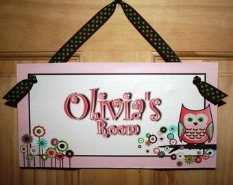 Kids Bedroom Pink Owls DOOR SIGN Wall Art Decor DS0188