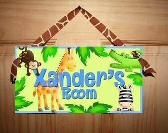 Bright and Fun Juicy Jungle Animal Kids Bedroom DOOR SIGN DS0205