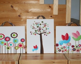 Set of 3 Lil Birdies on Stretched Canvases Girls Bedroom CANVAS Bedroom Wall Art 3CS017