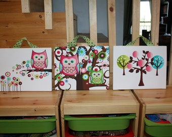 Set of 3 Pretty in Pink Owls Stretched Canvases Baby Nursery CANVAS Bedroom Wall Art 3CS043