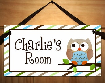 Owls Love Stripes Boys Nature Forest Bedroom and Baby Nursery Kids Bedroom DOOR SIGN Wall Art DS0269
