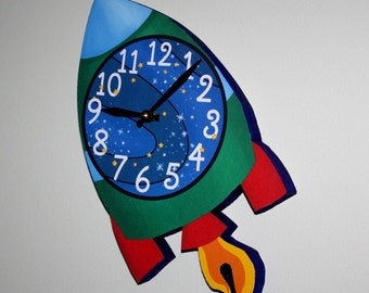 Blast Off Outerspace Rocket Wooden WALL CLOCK Kids Bedroom Baby Nursery WC0054