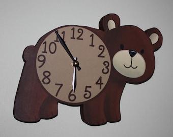 Brown Bear Woodland Forest Friends Animal Wooden WALL CLOCK Kids Bedroom Baby Nursery WC0079