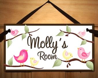 The Tweetest Little Birdies Girls Bedroom Baby Nursery Kids Bedroom DOOR SIGN Wall Art DS0128