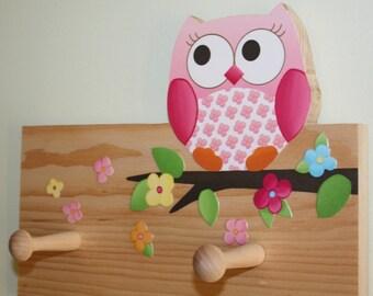 Owls Love Flowers Girls Clothes Peg Rack for Kids Bedroom Baby Nursery 2CR004