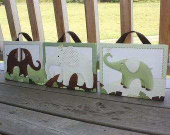 Set of 3 Green and Brown Elephants Stretched Canvases Children's Bedroom Baby Nursery  CANVAS Bedroom Wall Art 3CS003