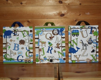 Set of 3 ABC and all the way to Z Alphabet Baby Nursery Kids Playroom Stretched CANVAS Bedroom Art - Green, Blue and Browns 3Cs001