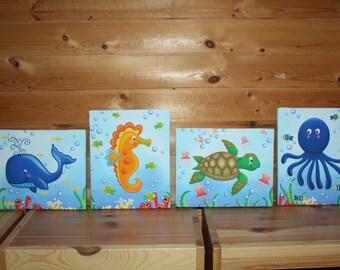 Set of 4 Ocean Animals Kids Bedroom Stretched Canvases Kids Playroom Baby Nursery CANVAS Bedroom Wall Art 4CS033