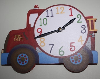 Firetruck Wooden WALL CLOCK for Boys Bedroom Baby Nursery WC0051