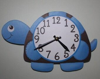 Mod Turtle Wooden WALL CLOCK for Boys Bedroom Baby Nursery WC0061