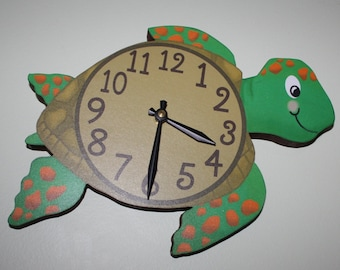 Sea Turtle Ocean Creatures Wooden WALL CLOCK for Boys or Girls Bathroom Bedroom Baby Nursery WC0063