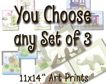 Set of 3, 11x14 Art Prints - YOU CHOOSE the Design Kids Bedroom Baby Nursery Wall Art
