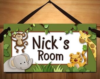 Jungle Safari Animals in Green Babies Bedroom Nursery Kids DOOR SIGN Wall Art DS0251
