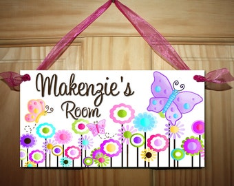 Multicolour Butterfly Girls Bedroom and Baby Nursery Kids Bedroom DOOR SIGN Wall Art DS0062