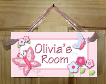 Girls Bedroom Pretty Patterned Butterfly DOOR SIGN Wall Art Decor DS0061