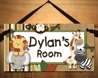 Baby Jungle Animals Babies Bedroom Nursery Kids DOOR SIGN Wall Art DS0304