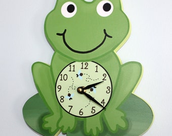 Frog Wooden WALL CLOCK for Kids Bedroom Baby Nursery WC0060