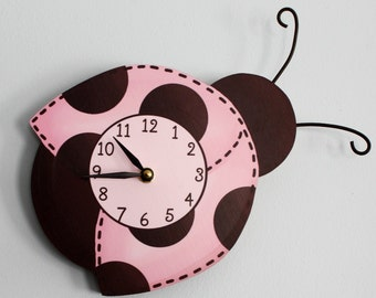 Mod Ladybug Wooden WALL CLOCK for Girls Bedroom Baby Nursery WC0021