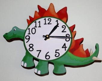 Spike Tail Dinosaur Wooden WALL CLOCK for Boys Bedroom Baby Nursery WC0058