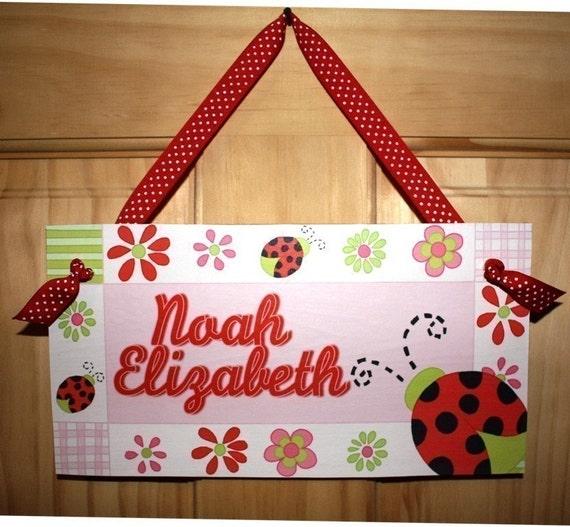 kids door sign lady bug girls bedroom wall art decor ds0343