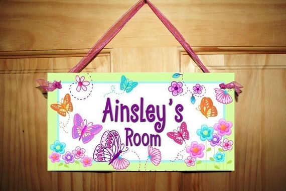 Delicious Lime Butterfly Girls Bedroom Nursery Personalized DOOR SIGN Wall Art DS0059