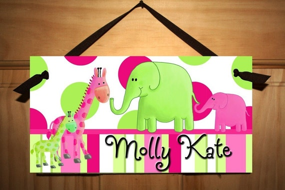 Bright Pink and Green Jungle Animal Girls Bedroom Door Sign DS0212
