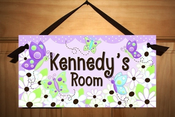 Daisy Lilac Butterfly Girls Bedroom DOOR SIGN Wall Art DS0058
