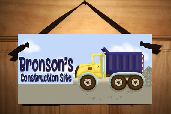 Construction Truck Boys Bedroom Baby Nursery DOOR SIGN Wall Art DS0049