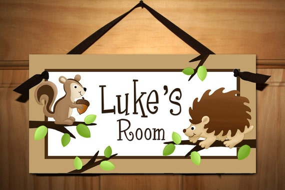 Forest Critters - Hedgehogs Love Squirrels Boys Nature Forest Bedroom and Baby Nursery Kids Bedroom Door Sign Wall Art DS0130