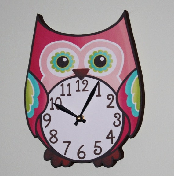 Pretty in Pink Owl Wooden WALL CLOCK Girls Bedroom Baby Nursery to Match Many Owl Bedding Themes WC0017
