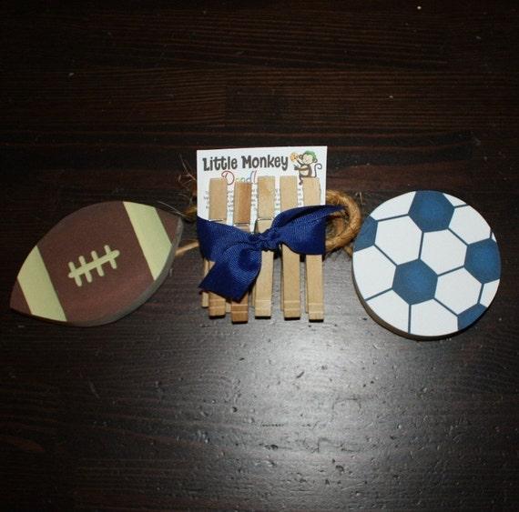 2 Sports Balls Wooden Boys Wall ART DISPLAY CLIPS for Kids Bedroom Baby Nursery Playroom Ac0048