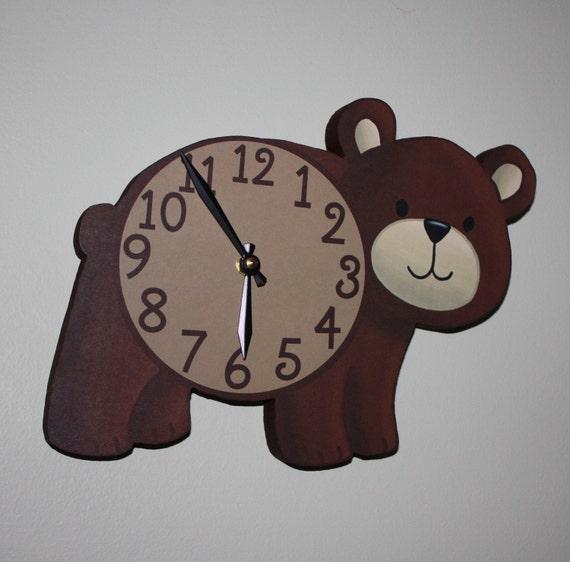 Brown Bear Woodland Forest Friends Animal Wooden Wall Clock