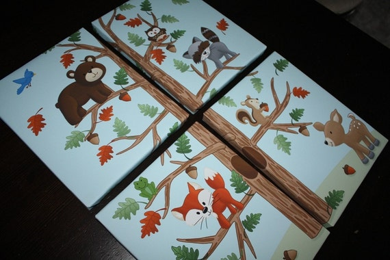 Set of 4 Woodland Friends Forest Animals on Stretched Canvases Kids Bedroom Baby Nursery CANVAS Wall Art 4CS027