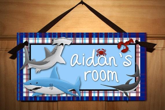 Shark Adventure Boys Bedroom DOOR SIGN Wall Art DS080