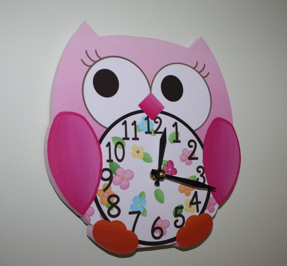 Pink Love Owl Wooden WALL CLOCK for Girls Bedroom Baby Nursery to Match Many Bird Bedding Themes WC0012