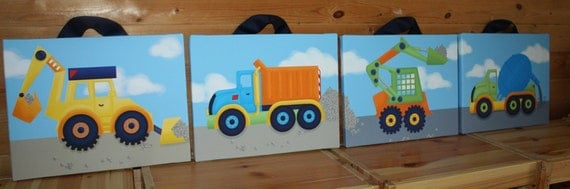 Set of 4 Boys Bright Construction Truck 16x20 Stretched Canvases Baby Nursery CANVAS Bedroom Wall Art