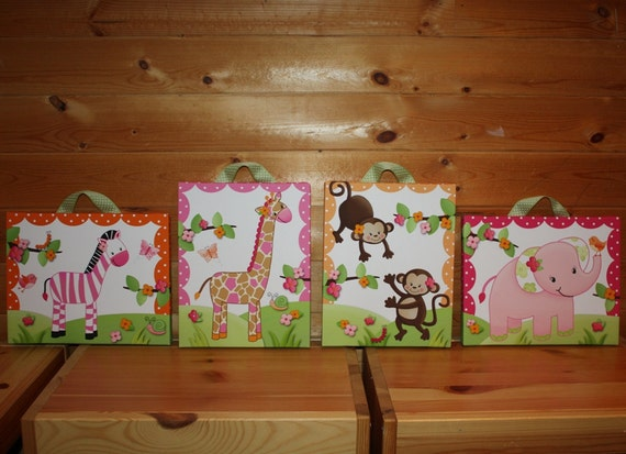 Set of 4 Pink Girly Jungle Bedroom 8x10 Stretched Canvases Kids Playroom Baby Nursery CANVAS Bedroom Wall Art