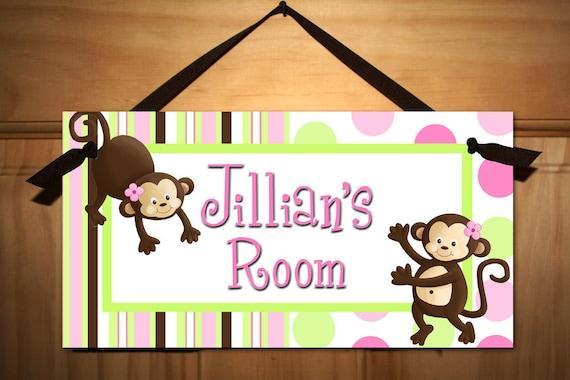 Girls Pop Monkey Pink Green Brown DOOR SIGN Wall Art DS0317