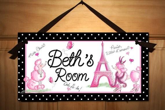 Ooh lala Paris Poodle Eiffel Tower Girls Bedroom DOOR SIGN Wall Art DS0036