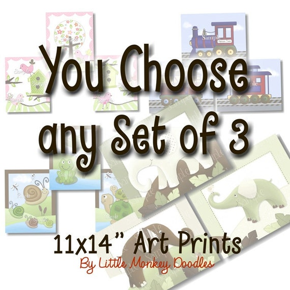 Set of 3, 11x14 Art Prints - YOU CHOOSE the Design Kids Bedroom Baby Nursery Wall Art