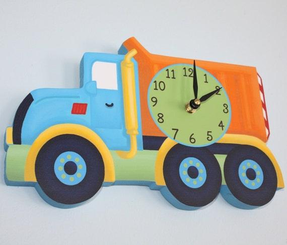 bright construction dump truck wooden wall clock for kids