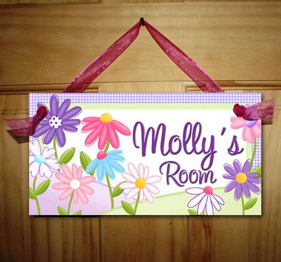 DOOR SIGN Pretty Lilac Garden Flowers Girls Bedroom And Baby