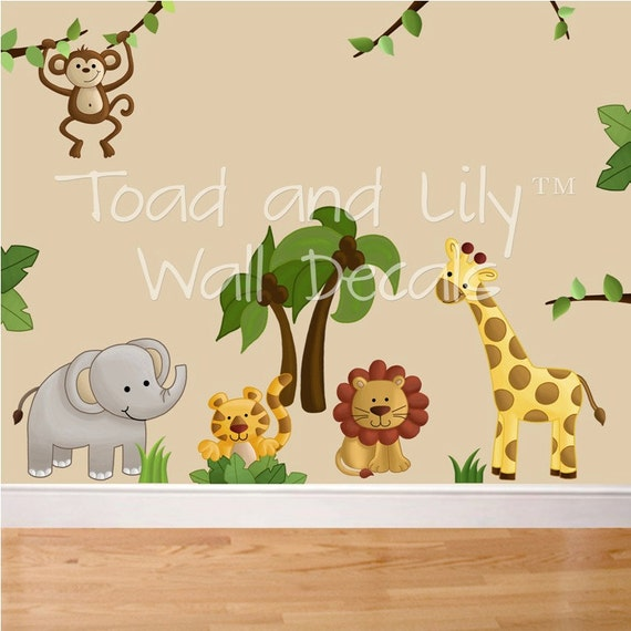 Fabric wall decals jungle animal safari girls boys bedroom for Baby jungle safari wall mural