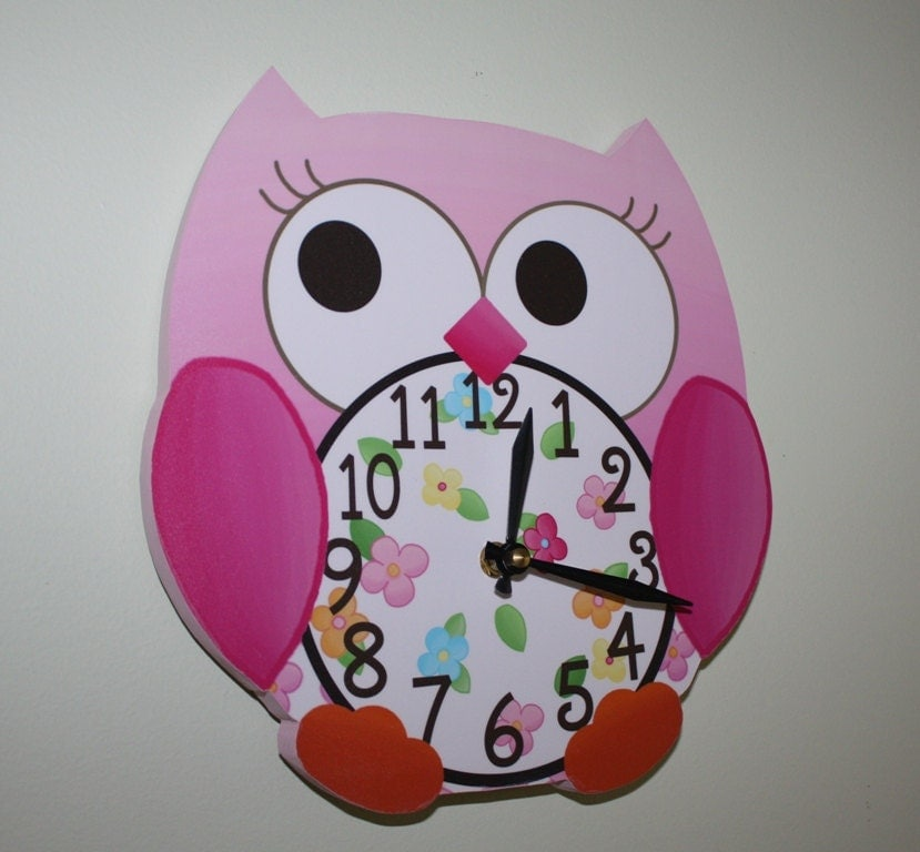Wall Clock Owl Design : Pink love owl wooden wall clock for girls bedroom baby nursery