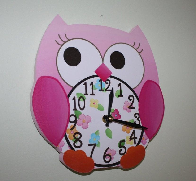 Pink Love Owl Wooden Wall Clock For Girls Bedroom Baby Nursery